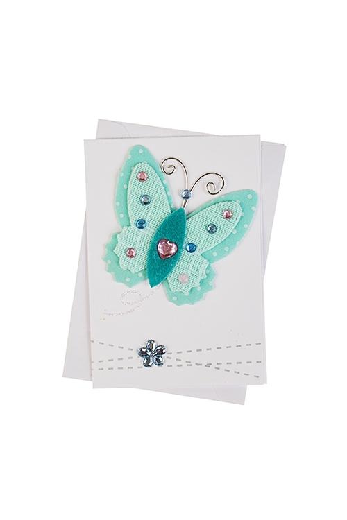 Открытка подарочная Прекрасная бабочкаОткрытки ручной работы<br>7*10см, с конвертом, ручная работа<br>