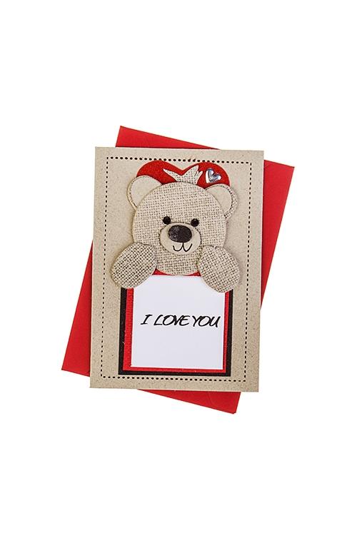 Открытка подарочная Романтичный мишкаСувениры и упаковка<br>7*10см, с конвертом, ручная работа<br>