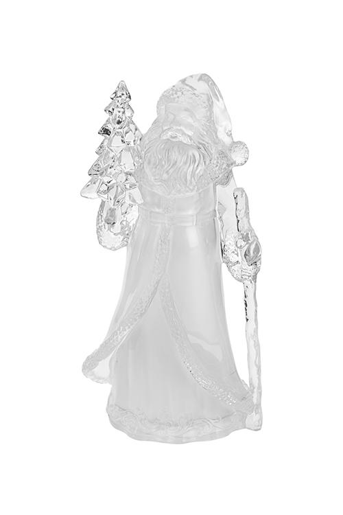 Фигурка новогодняя светящаяся Дед Мороз с елочкойЛедяные фигуры<br>Выс=21см, пластм., на батарейках<br>