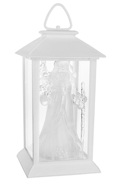 Украшение новогоднее светящееся Фонарь с Дедом МорозомЛедяные фигуры<br>15*15*29см, пластм., белое, на батар.<br>