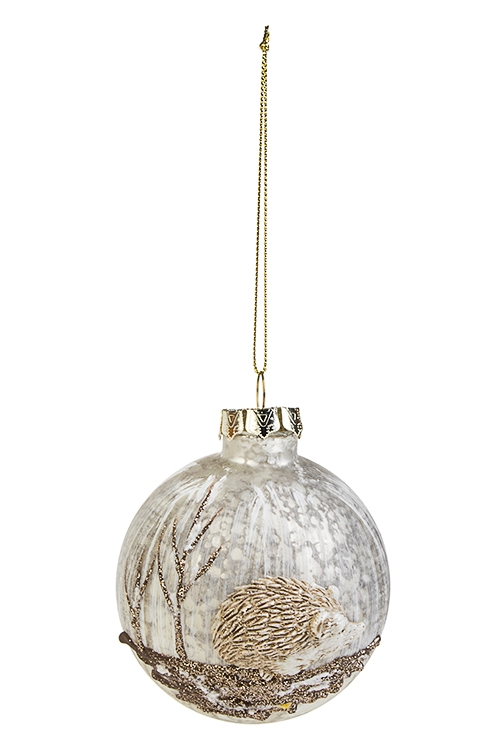 Шар елочный ЕжикЕлочные шары<br>Д=8см, стекло, полирезин, коричн.-белый<br>