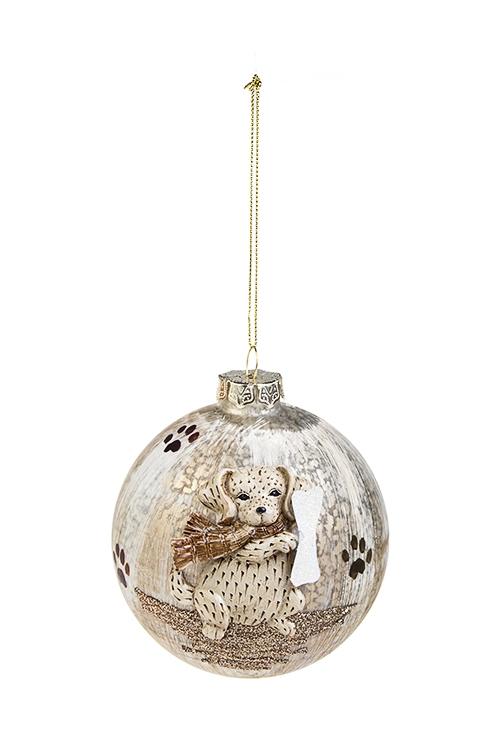 Шар елочный Счастливый песикЕлочные шары<br>Д=10см, стекло, полирезин, коричн.-белый<br>