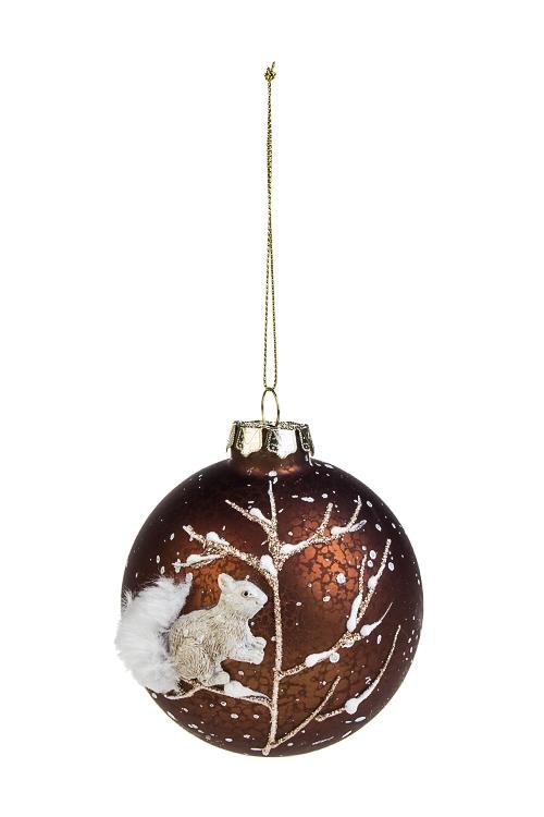 Шар елочный Белочка на веткеЕлочные шары<br>Д=9см, стекло, полирезин, коричн.-белый<br>
