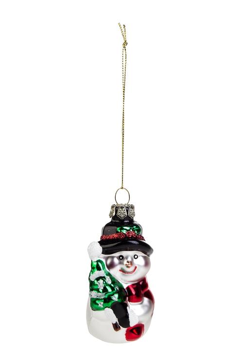 Украшение елочное Снеговичок с елочкойПодарки на Новый год 2018<br>Выс=9см, стекло, бело-красно-зеленое<br>