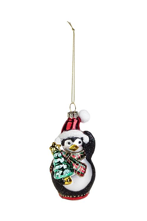 Украшение елочное Пингвин с елочкойСтеклянные елочные игрушки<br>Выс=11см, стекло, черно-белое<br>