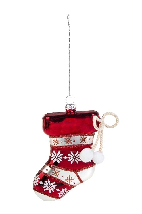 Украшение елочное НосокПодарки на Новый год 2018<br>Выс=11см, стекло, бело-красное<br>
