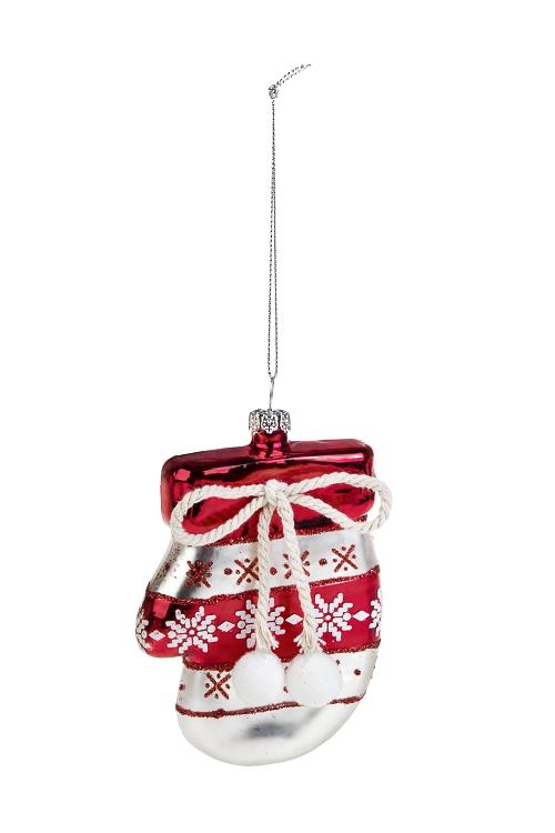 Украшение елочное РукавицаПодарки на Новый год 2018<br>Выс=11см, стекло, бело-красное<br>