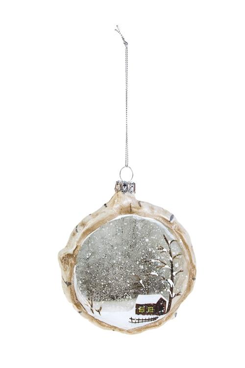 Украшение елочное ДомикПодарки на Новый год 2018<br>10*3*11см, стекло, крем.-серое<br>