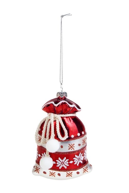 Украшение елочное Мешок с подаркамиСтеклянные елочные игрушки<br>Выс=11см, стекло, бело-красное<br>