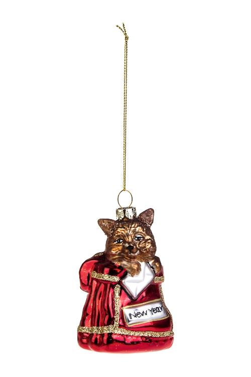 Украшение елочное Котик в мешкеСтеклянные елочные игрушки<br>Выс=10см, стекло, полирезин, красно-коричн.<br>