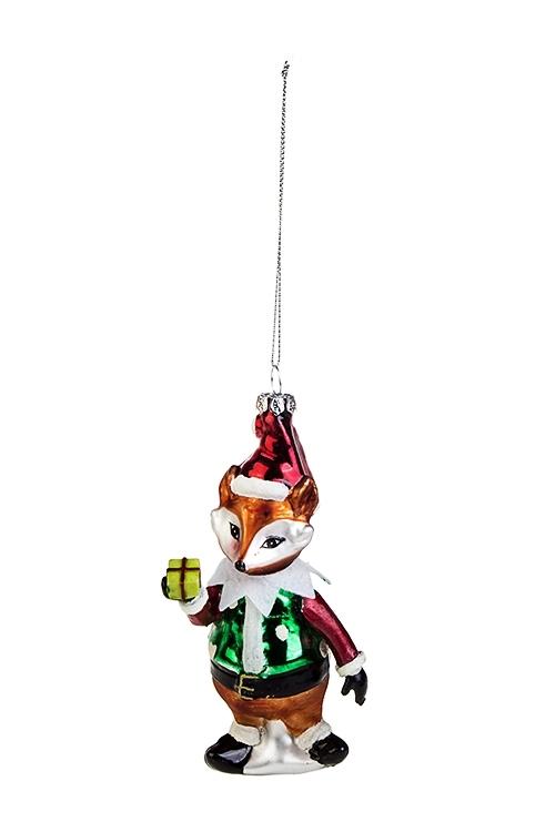 Украшение елочное ЛисенокПодарки на Новый год 2018<br>Выс=14см, стекло, полирезин, оранж.-красно-зеленое<br>