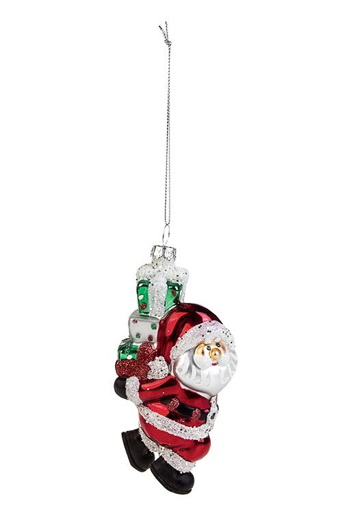Украшение елочное Дед Мороз с подаркамиПодарки на Новый год 2018<br>Выс=12.5см, стекло, полирезин, красно-зеленое<br>