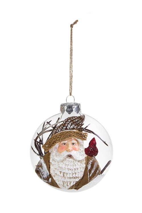 Украшение елочное Дед МорозЕлочные шары<br>10.5*4.5*13см, стекло, полирезин, пластм., бело-коричн.<br>