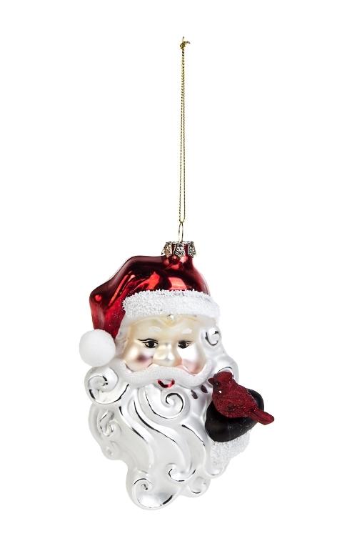 Украшение елочное Дед Мороз с птичкойСтеклянные елочные игрушки<br>Выс=15см, стекло, полирезин, бело-красное<br>