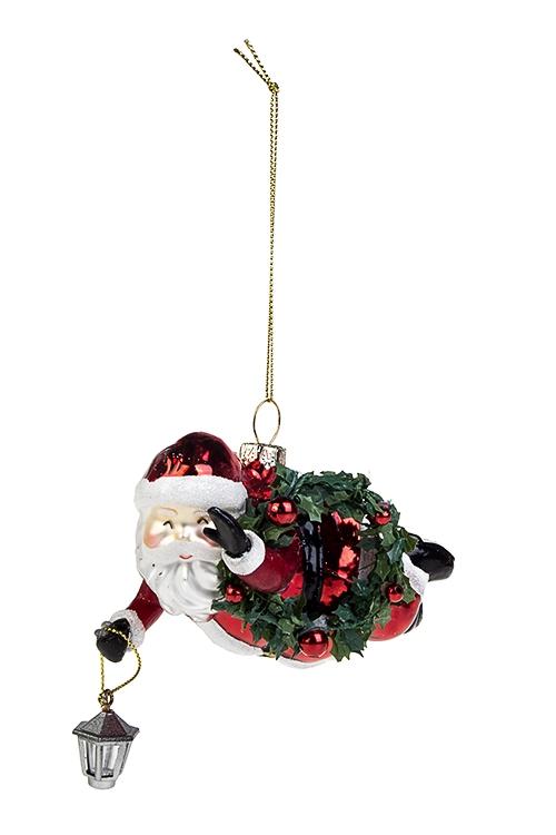 Украшение елочное Дед Мороз с фонарикомПодарки на Новый год 2018<br>Дл=13см, стекло, полирезин, пластм., красно-белое<br>