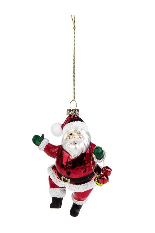 Украшение елочное Дед МорозСтеклянные елочные игрушки<br>Выс=14см, стекло, полирезин, металл, красно-белое<br>