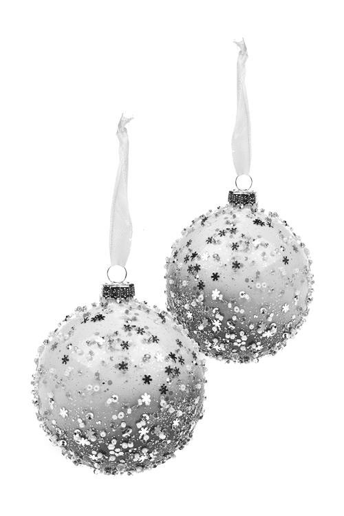 Набор шаров елочных МетельЕлочные шары<br>Д=8см, стекло, бело-серо-серебр., ручная работа<br>