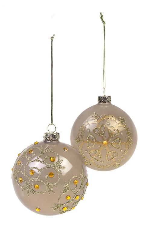 Набор шаров елочных СнежинкиПодарки<br>Д=8см, стекло, крем.-золот., ручная работа<br>