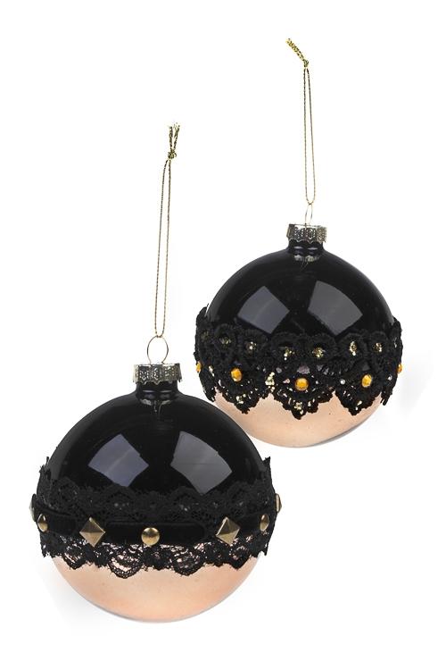 Набор шаров елочных Черное кружевоЕлочные шары<br>Д=8см, стекло, черно-золот., ручная работа<br>