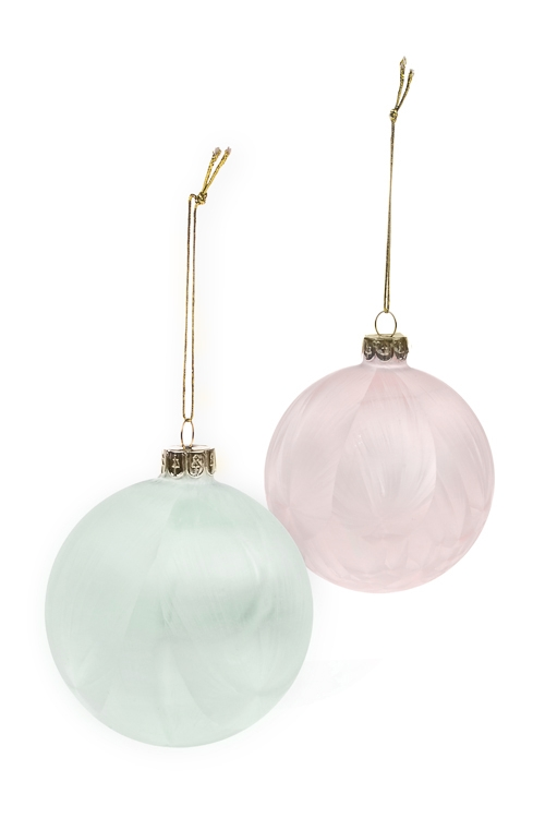 Набор шаров елочных ИнейЕлочные шары<br>Д=8см, стекло, розово-мятный, ручная работа<br>