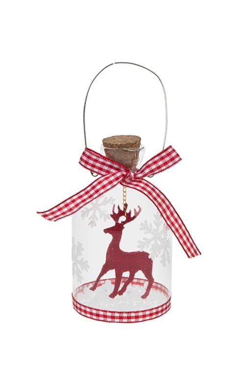 Украшение новогоднее Новогодняя сказкаПодарки<br>Выс=10см, стекло, бело-красное (4 вида)<br>