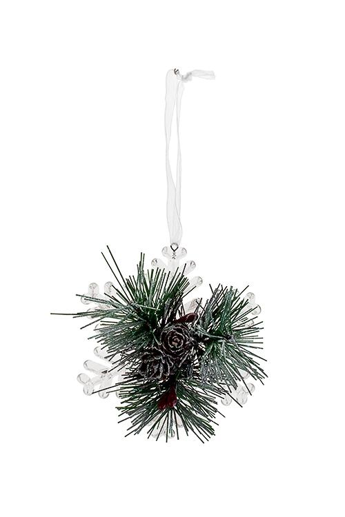 Украшение новогоднее Снежинка с еловыми веточкамиЕлочные игрушки<br>Д=10см, пластм., подвесное<br>