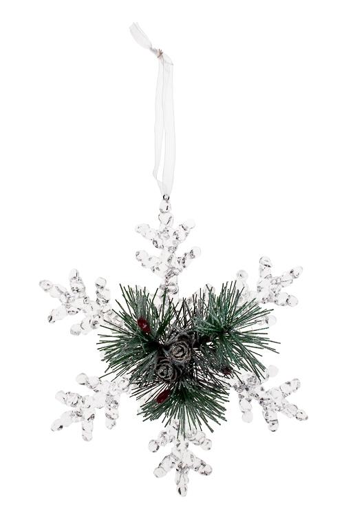 """Украшение новогоднее """"Прекрасная снежинка с еловыми веточками"""""""