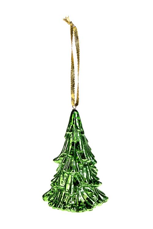 Украшение новогоднее светящееся ЕлочкаЕлочные игрушки<br>7*11см, пластм., зеленое, на батарейках, подвесное<br>