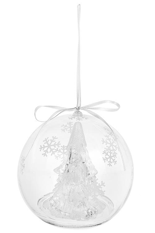 Украшение новогоднее светящееся Елочка в шареЕлочные игрушки<br>Д=13.5см, пластм., на батарейках, подвесное<br>