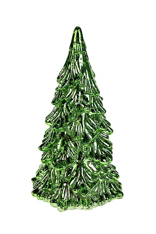 Украшение новогоднее светящееся ЕлочкаИнтерьер<br>9.5*19см, пластм., зеленое, на батарейках.<br>