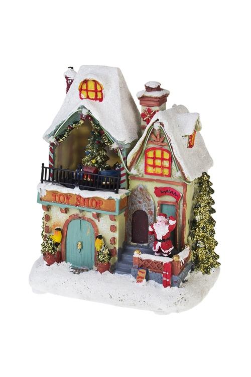 Украшение новогоднее светящееся и двигающееся Дом Деда МорозаСветящиеся украшения<br>15*9*17см, полирезин, на батар.<br>