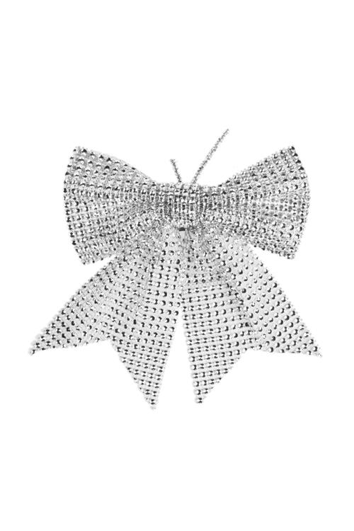 Бант декоративный Металлический блескПодарки на Новый год 2018<br>Ш=15см, текстиль, серебр.<br>