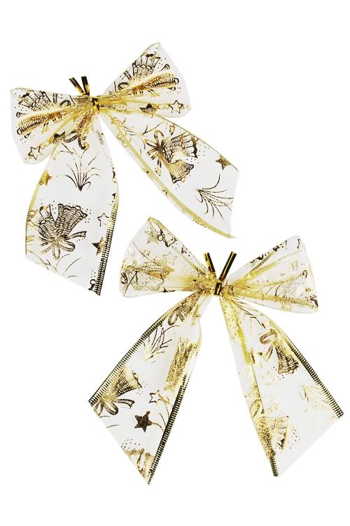 Набор бантов декоративных Новогодний узорПодарки<br>Ш=12см, текстиль, золот.<br>