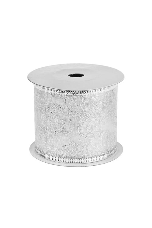 Лента декоративная Серебряный узорУпаковочные ленты<br>Ш=6см, Дл=9м, текстиль, серебр.<br>