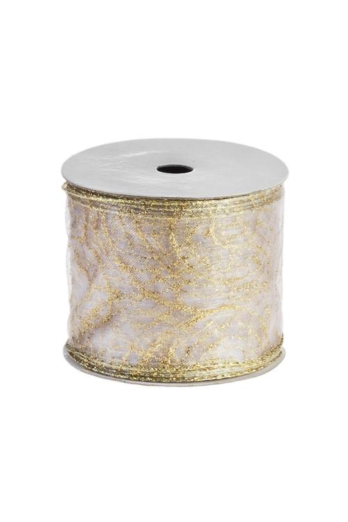 Лента декоративная Золотой узорСувениры и упаковка<br>Ш=6см, Дл=9м, текстиль, золот.<br>