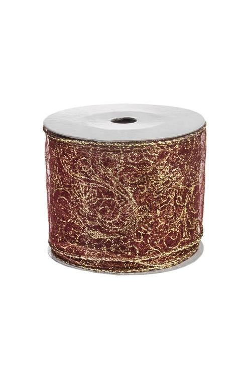 Лента декоративная Цветочные орнаментСувениры и упаковка<br>Ш=6см, Дл=9м, текстиль, борд.-золот.<br>