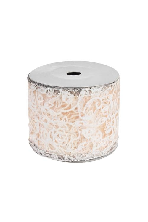 Лента декоративная Цветочные узорыУпаковочные ленты<br>Ш=6см, Дл=9м, текстиль, персиков.<br>