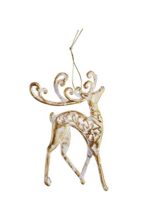 Украшение декоративное Гордый оленьЕлочные игрушки<br>13*8см, пластм., бело-золот., подвесное<br>