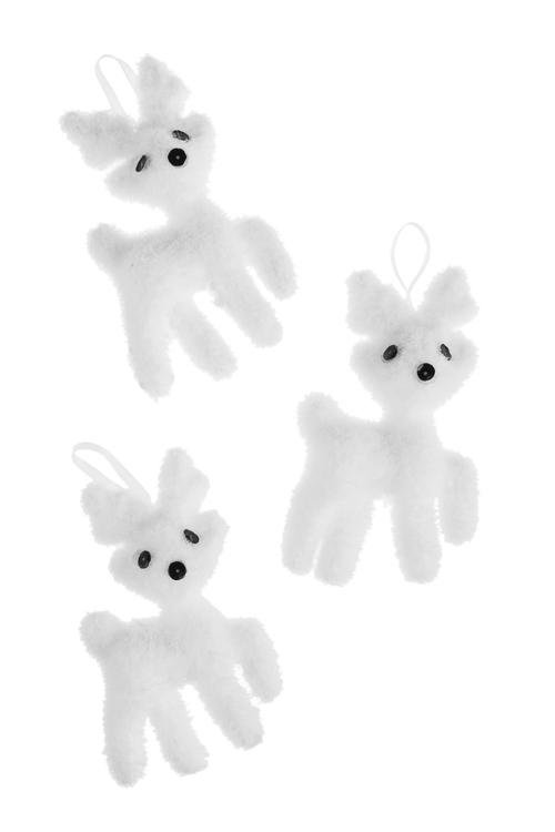 Набор украшений декоративных ОленятаЕлочные игрушки<br>Выс=11см, пенопласт, белый, подвесной<br>