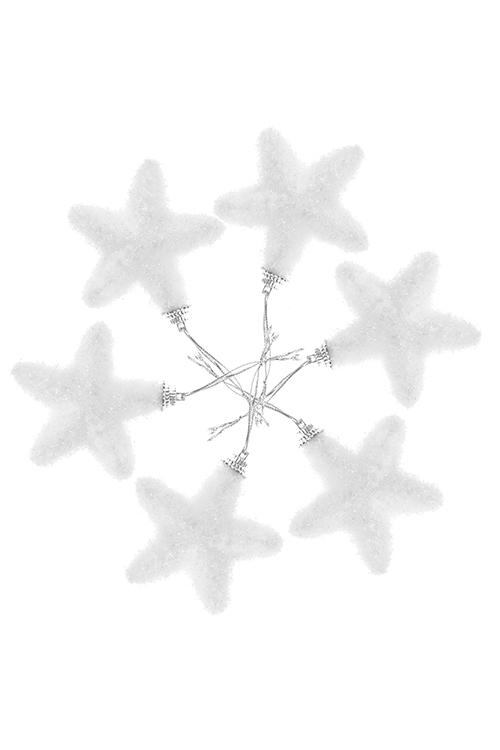 Набор украшений декоративных ЗвездочкиСувениры и упаковка<br>6-предм., Выс=7см, пенопласт, белый, подвесной<br>