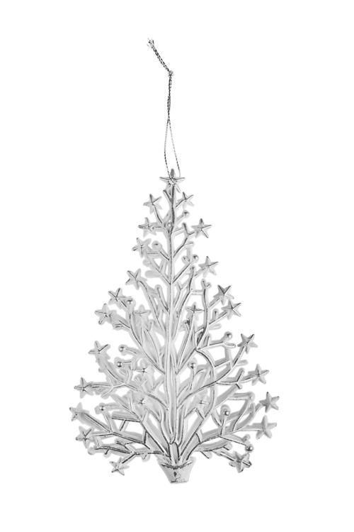 Украшение новогоднее ЕлочкаПодарки<br>Выс=15.5см, пластм., бело-серебр., подвесное<br>