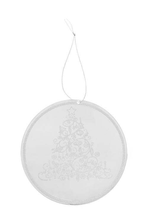 Украшение новогоднее Рождественская ельПодарки на Новый год 2018<br>Д=12см, акрил, серебр., подвесное<br>