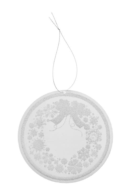 Украшение новогоднее Рождественский венокЕлочные игрушки<br>Д=12см, акрил, серебр., подвесное<br>