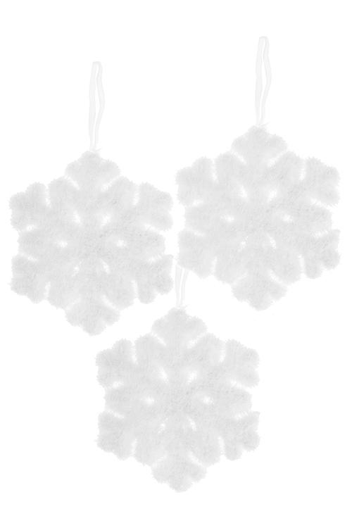 Набор украшений новогодних Пушистые снежинкиПодарки на Новый год 2018<br>3-предм., Д=10см, пенопласт, белый, подвесной<br>