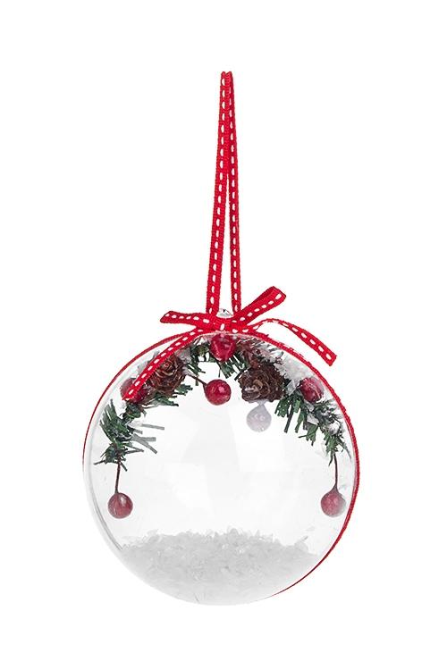 Украшение новогоднее Зимняя веточка в шареПодарки на Новый год 2018<br>Выс=10см, пластм., подвесное<br>