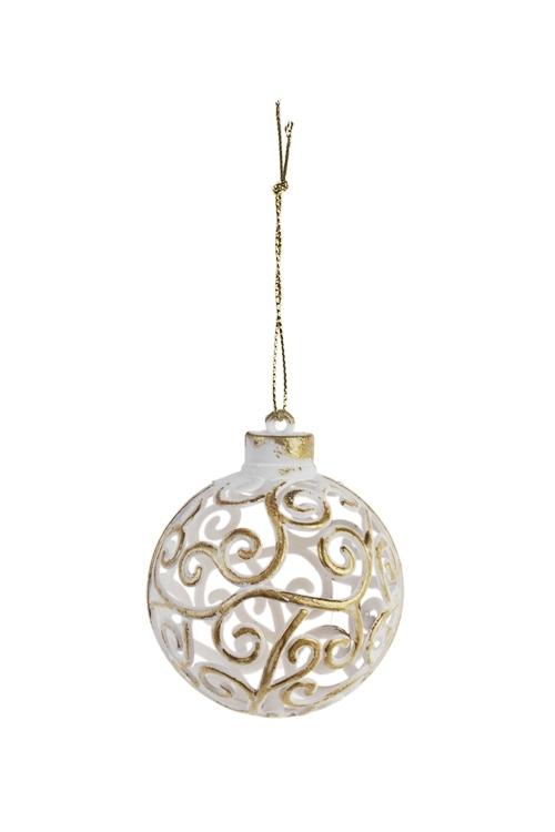Шар елочный Резной шарЕлочные шары<br>Д=6см, пластм., бело-золот., подвесной<br>