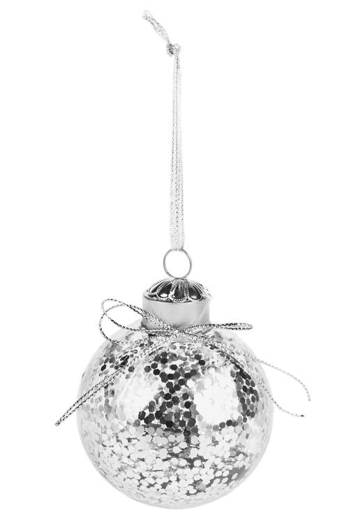 Шар елочный Снежное сияниеПодарки<br>Д=8см, пластм., серебр., подвесной<br>