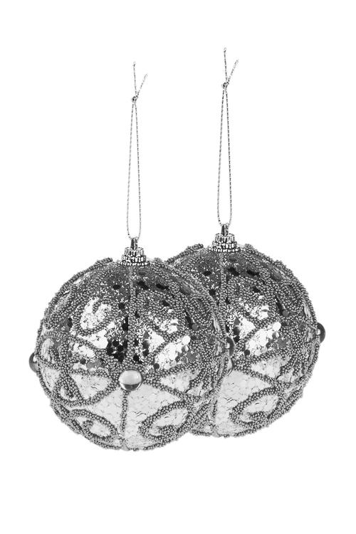 Набор шаров елочных Ледяной узорЕлочные шары<br>Д=8см, пенопласт, серебр.<br>