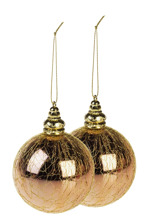 Набор шаров елочных Золотая паутинкаПодарки<br>Д=8см, пластм., розов.золот.<br>