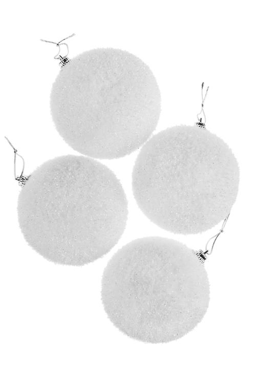 Набор шаров елочных СнежкиЕлочные шары<br>Д=8см, пенопласт, белое, подвесное<br>